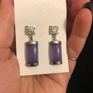 Jewelry - Purple jade earrings